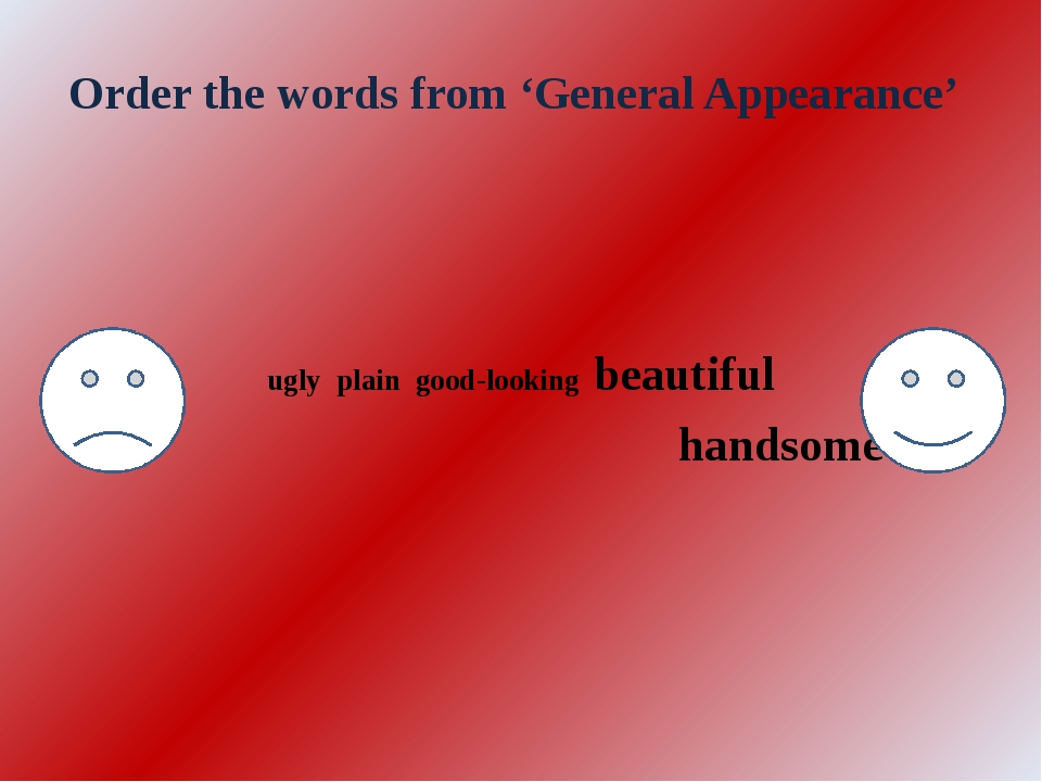 Order the words from 'General Appearance' ugly plain good-looking beautiful h...