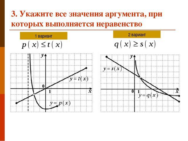 3. Укажите все значения аргумента, при которых выполняется неравенство 1 вари...