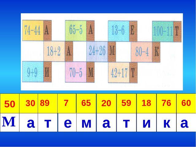 М а 50 30 59 20 65 7 89 60 76 18 т е м а т и к а