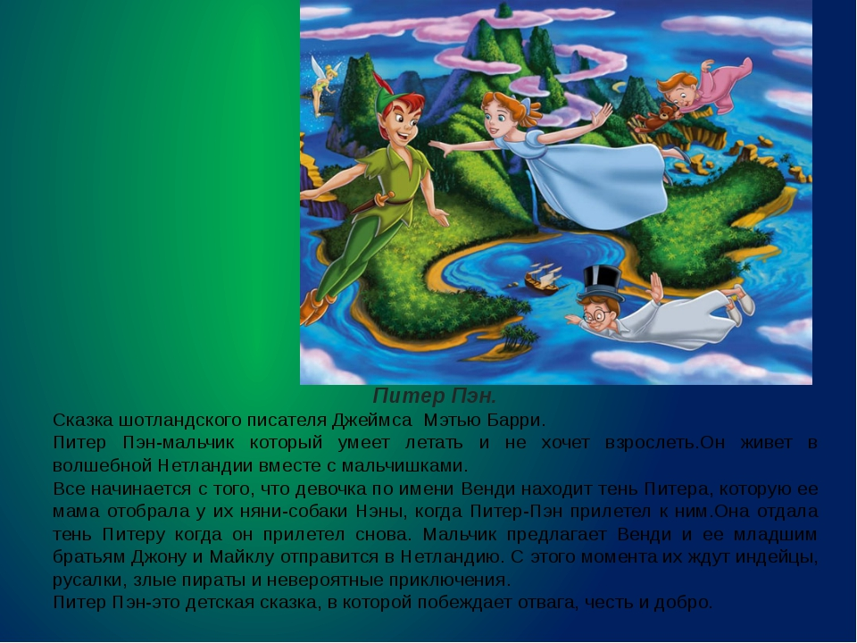 Питер Пэн. Сказка шотландского писателя Джеймса Мэтью Барри. Питер Пэн-мальчи...