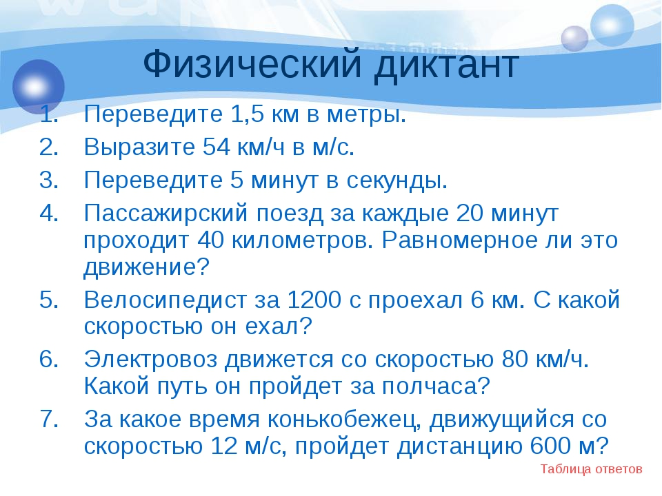 Физический диктант Переведите 1,5 км в метры. Выразите 54 км/ч в м/с. Перевед...