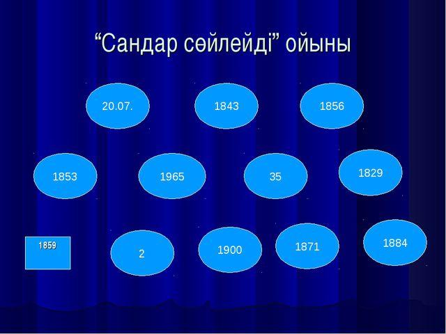 """""""Сандар сөйлейді"""" ойыны 1859 1965 20.07. 1843 1856 35 2 1900 1871 1884 1853 1..."""