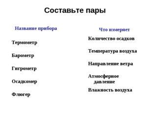 Составьте пары Название прибора Термометр Барометр Гигрометр Осадкомер Флюгер