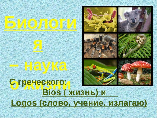 Биология – наука о жизни С греческого: Вios ( жизнь) и Logos (слово, учение,...