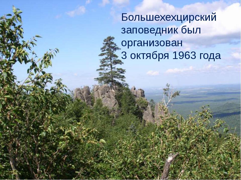 Большехехцирский заповедник был организован 3 октября 1963 года