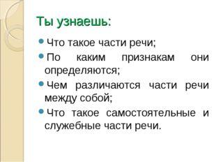 Ты узнаешь: Что такое части речи; По каким признакам они определяются; Чем ра