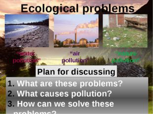 Plan for discussing What are these problems? What causes pollution? How can w