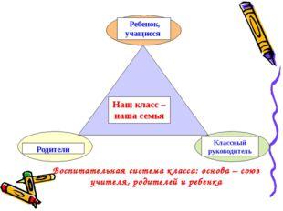 Воспитательная система класса: основа – союз учителя, родителей и ребенка Реб