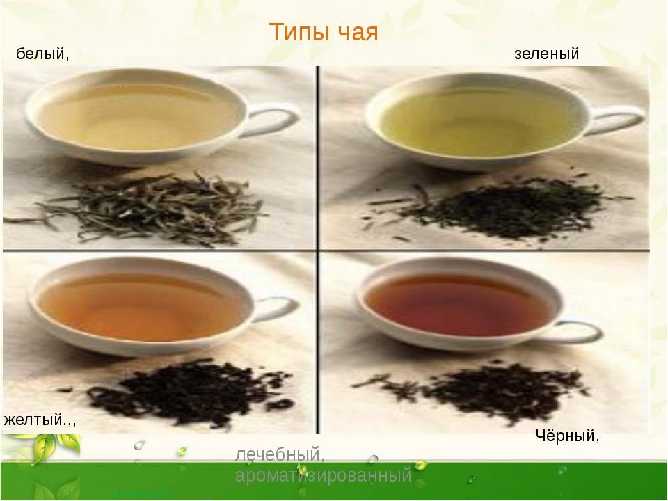 Типы чая лечебный, ароматизированный Чёрный, белый, зеленый желтый.,, Типы ч...