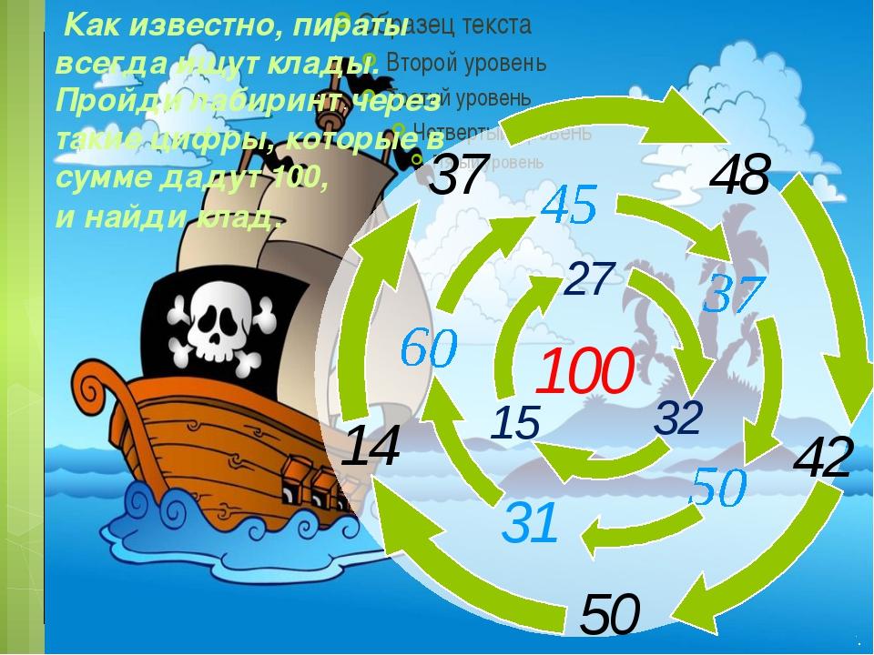 100 42 31 15 27 Как известно, пираты всегда ищут клады. Пройди лабиринт чере...