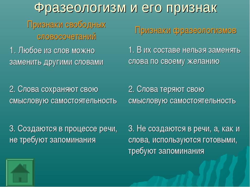Фразеологизм и его признак Признаки свободных словосочетанийПризнаки фразео...