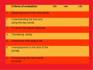 Criteria of evaluation	«5»	«4»	«3» 1.	Mastering level of the new words			 2.