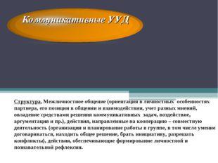 Коммуникативные УУД Структура. Межличностное общение (ориентация в личностных