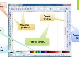 Панель инструментов Элементы разметки Рабочая область Панель команд Панель па