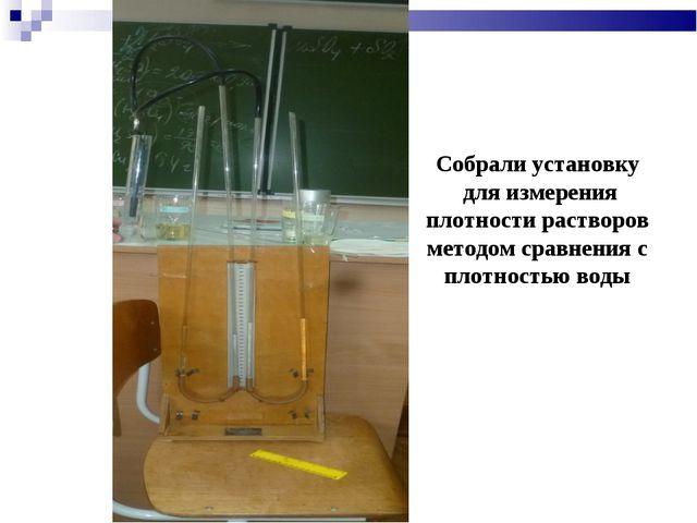 Собрали установку для измерения плотности растворов методом сравнения с плотн...