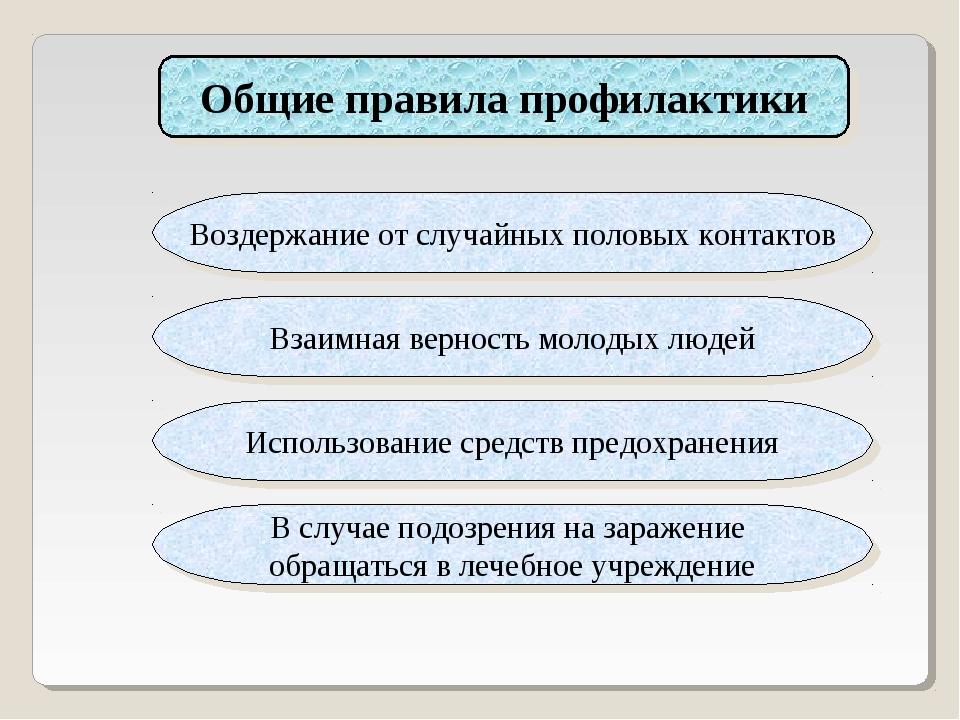 Общие правила профилактики Воздержание от случайных половых контактов Взаимна...