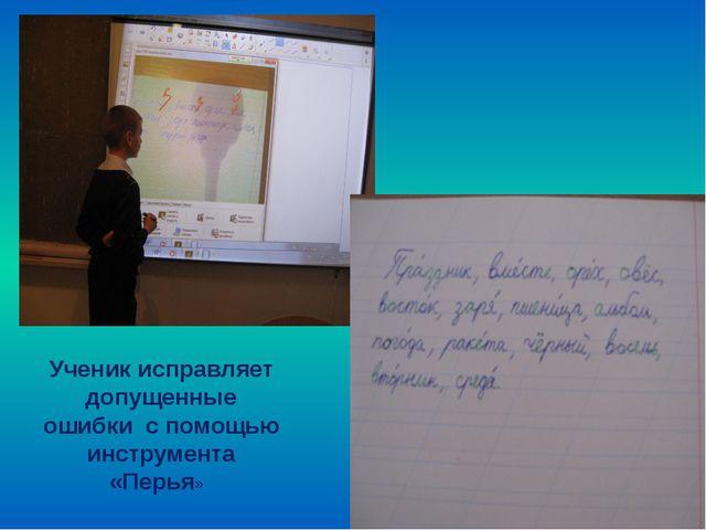 Ученик исправляет допущенные ошибки с помощью инструмента «Перья»
