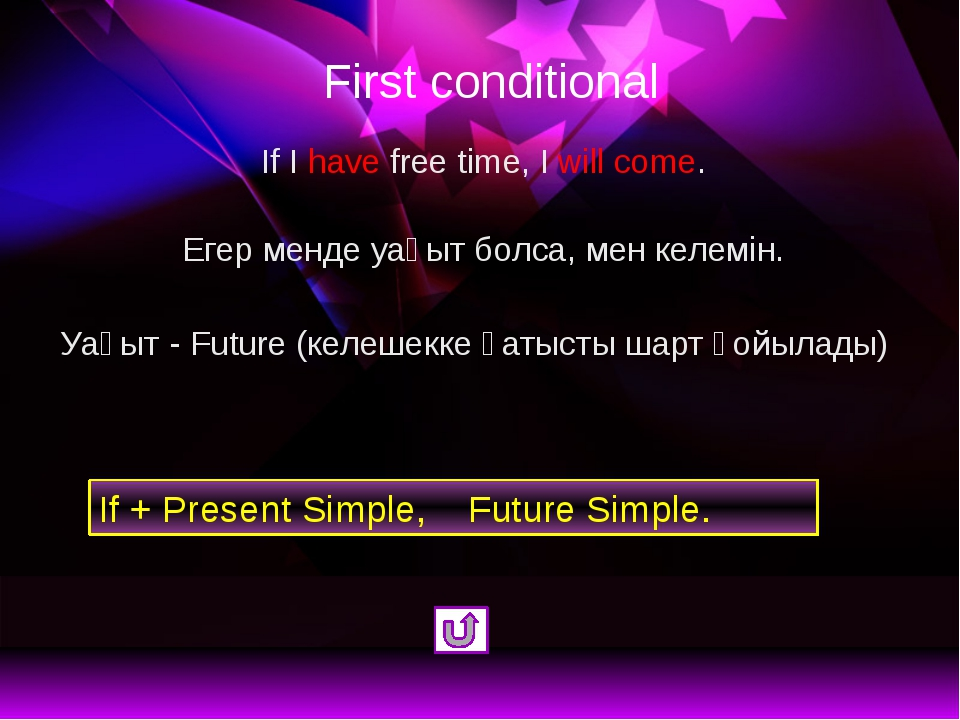 First conditional If I have free time, I will come. Егер менде уақыт болса, м...
