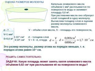 Капелька оливкового масла объёмом 1 мм3 расплывается по поверхности воды и за