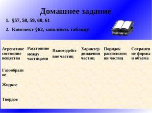 Домашнее задание §57, 58, 59, 60, 61 Конспект §62, заполнить таблицу