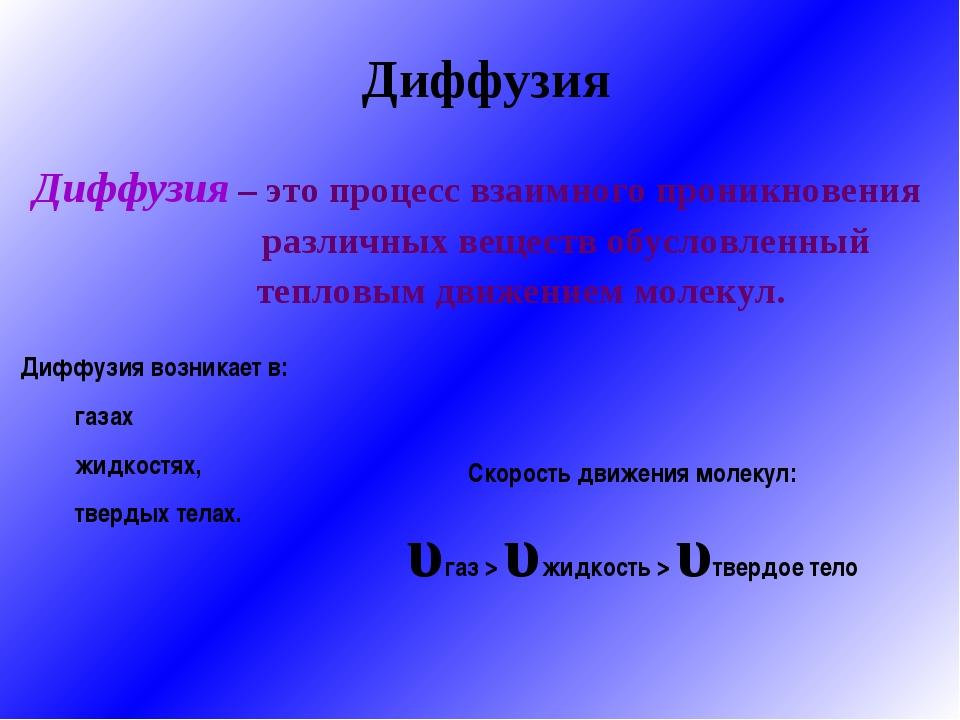 Диффузия Диффузия – это процесс взаимного проникновения  различных вещест...