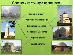 Соотнеси картинку с названием Малый минарет Ханская усыпальница Успенская цер