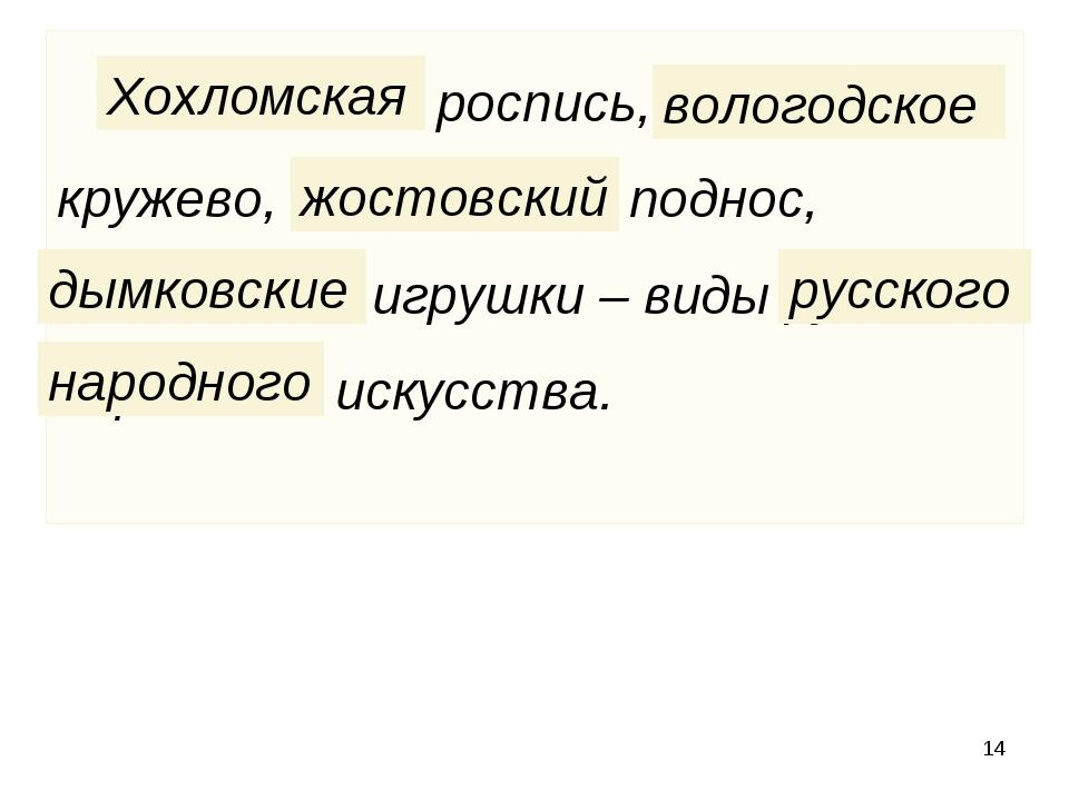 * Хохломская роспись, вологодское кружево, жостовский поднос, дымковские игру...