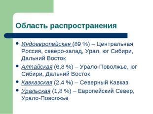 Область распространения Индоевропейская (89 %) – Центральная Россия, северо-з