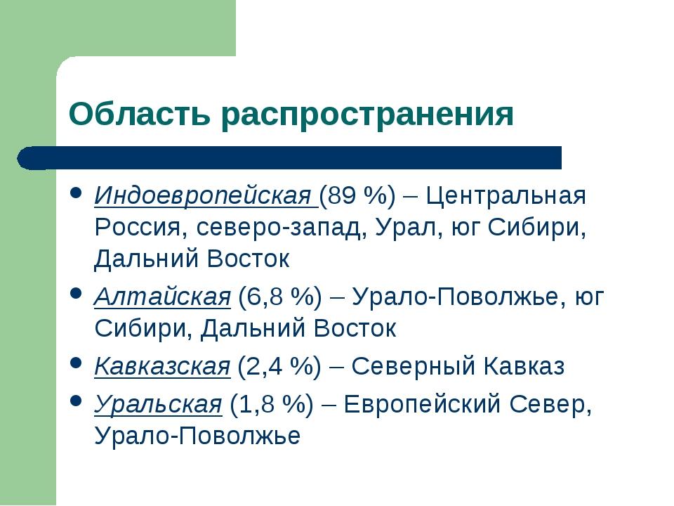 Область распространения Индоевропейская (89 %) – Центральная Россия, северо-з...