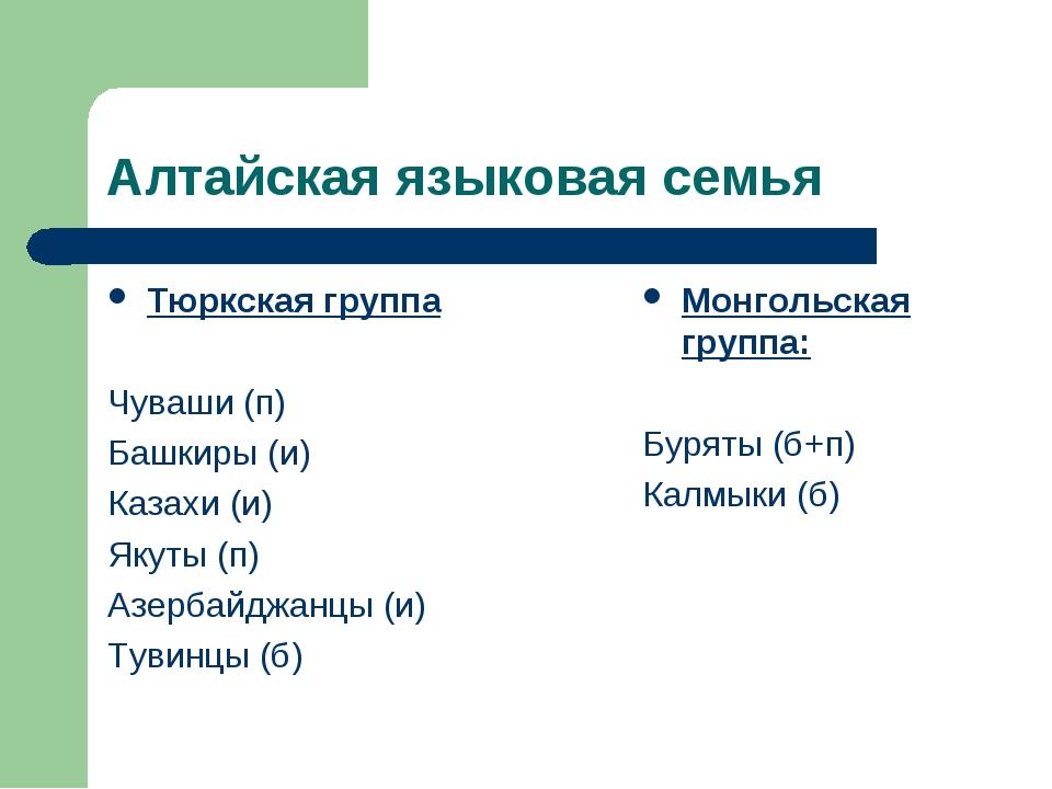 Алтайская языковая семья Тюркская группа Чуваши (п) Башкиры (и) Казахи (и) Як...