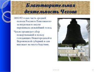 Благотворительная деятельность Чехова 1891/92 годах часть средней полосы Росс