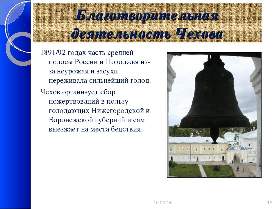 Благотворительная деятельность Чехова 1891/92 годах часть средней полосы Росс...