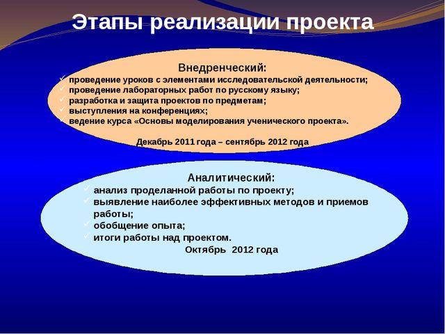Этапы реализации проекта Внедренческий: проведение уроков с элементами исслед...