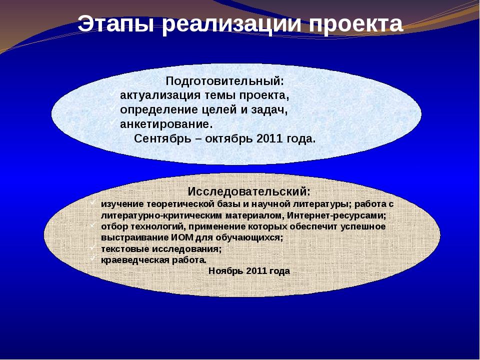 Этапы реализации проекта Подготовительный: актуализация темы проекта, определ...