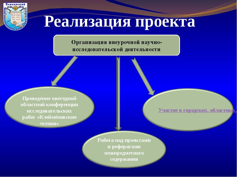 Реализация проекта Организация внеурочной научно-исследовательской деятельнос...