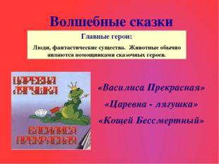 Волшебные сказки «Василиса Прекрасная» «Царевна - лягушка» «Кощей Бессмертный
