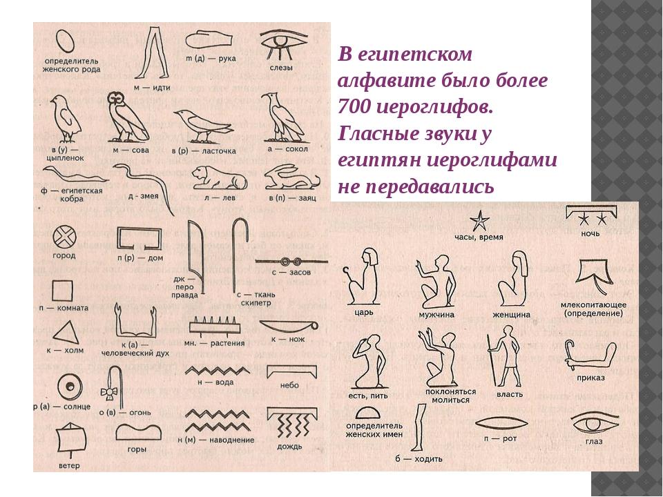 В египетском алфавите было более 700 иероглифов. Гласные звуки у египтян иеро...
