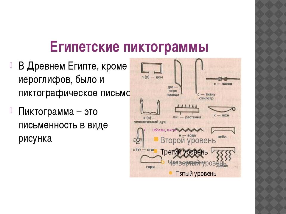Египетские пиктограммы В Древнем Египте, кроме иероглифов, было и пиктографич...