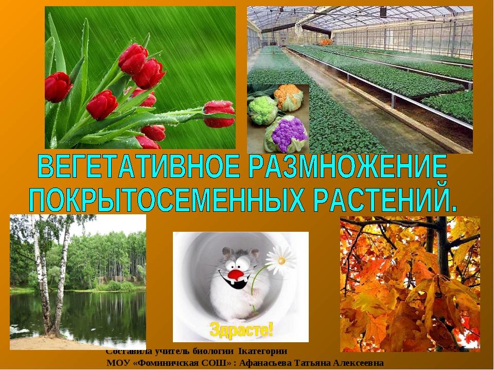 Составила учитель биологии Iкатегории МОУ «Фоминичская СОШ» : Афанасьева Тать...