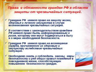 Права и обязанности граждан РФ в области защиты от чрезвычайных ситуаций. Гра