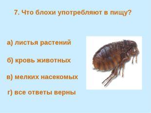 7. Что блохи употребляют в пищу? а) листья растений б) кровь животных в) мелк
