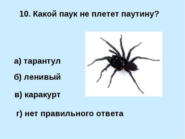 10. Какой паук не плетет паутину? б) ленивый а) тарантул в) каракурт г) нет п...