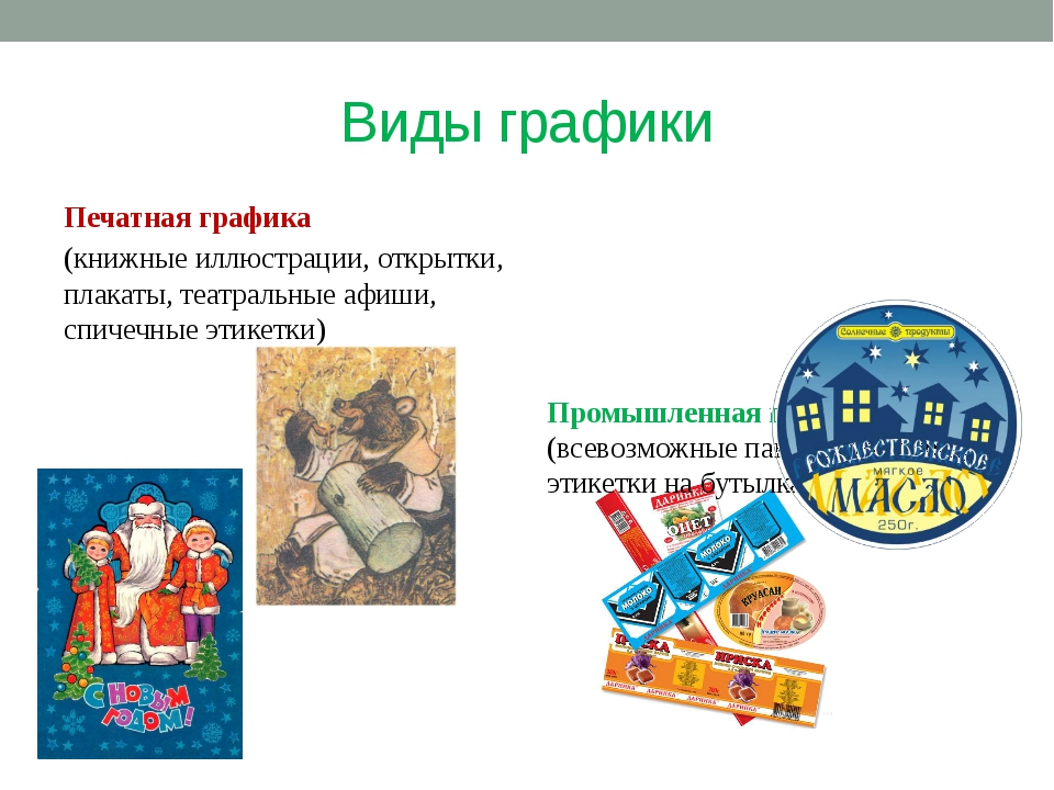 Виды графики Печатная графика (книжные иллюстрации, открытки, плакаты, театра...