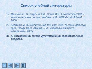 Список учебной литературы Максимов Н.В., Партыка Т.Л., Попов И.И. Архитектура