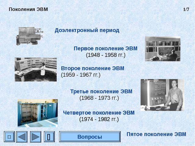 Доэлектронный период Первое поколение ЭВМ (1948 - 1958 гг.) Второе поколение...