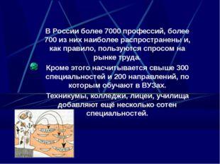 В России более 7000 профессий, более 700 из них наиболее распространены и, ка