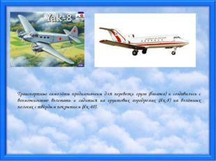 Транспортные самолёты предназначены для перевозки груза (багажа) и создавалис