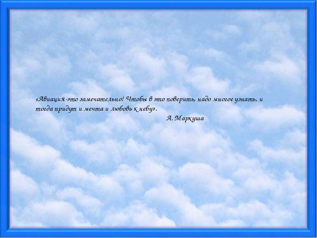 «Авиация-это замечательно! Чтобы в это поверить, надо многое узнать, и тогда...