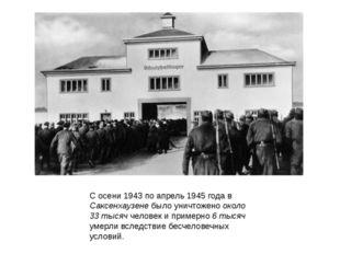 С осени 1943 по апрель 1945 года в Саксенхаузене было уничтожено около 33 тыс
