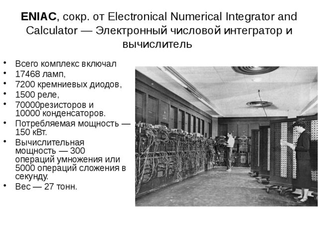 ENIAC, сокр. от Electronical Numerical Integrator and Calculator — Электронны...